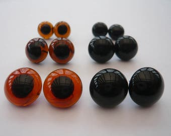 Large Looped Back Glass Eyes - 8mm, 10mm, 12mm, 14mm,16mmin Brown or Black