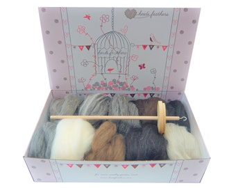 Heidifeathers Boxed Drop Spindle Spinning Kit - Natural Wool Tops / Roving