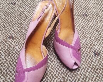 Easter Parade...vtg70's does 50's Rosina Ferragamo Schiavone Beautiful Peep Toe Lavender Slingback Two-Toned Leather Beauties...sz 7.5