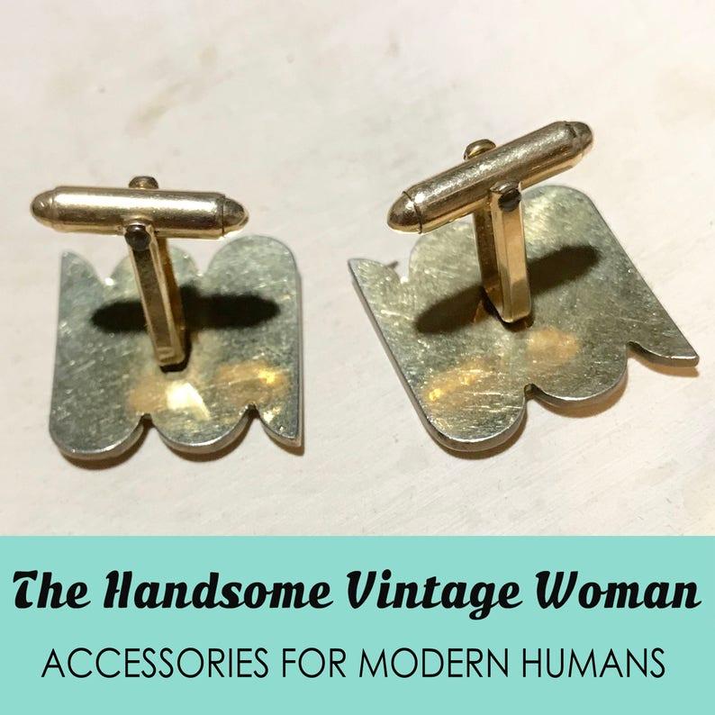 Rhinestone Geometric Cuff Links Large Vintage Cufflinks, Vintage Gold Kiesler Cufflinks