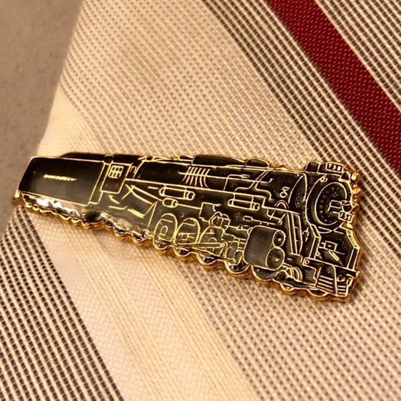 Gold Tone Enamel Railroad Tie Clip Vintage Black Enamel Train Tie Clip Vintage Train Tie Clip
