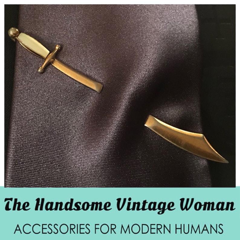 Swank Magic Blades Vintage Sword Tie Clip Scimitar Mother of Pearl Sword Tie Bar Pierced Look Tie Clip Swank Scimitar Tie Clip