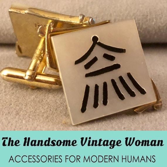 Swank Oriental Dynasty Cuff Links, Mahjong Tile Cu