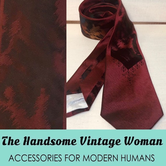 Red Skinny Tie, Vintage Skinny Neck tie, Trendy Vi