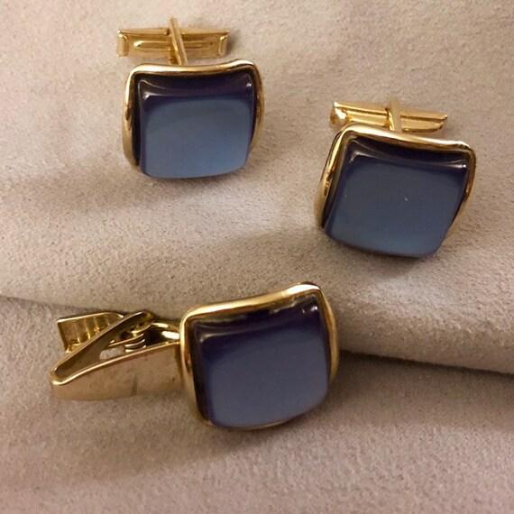 Cobalt Moonstone Tie Bar