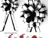 10 Black White 8 quot Pull Pew Bows Wedding Decoartion Church Chair Bridal Party PB015