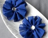 6 Royal Dark Blue Chiffon Flower Soft Fabric Silk Rhinestone Ballerina Twirl Flower Bridal Wedding Baby Hair Pin Headband SF146