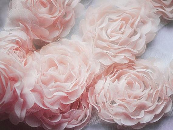 1 Yard Chiffon Rose Lace Trim Applique Peach Pink 3d Bridal Etsy