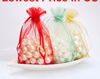 "100 pcs 5""x7"" Organza Bags Wedding Favor Bags Party Gift Bags Candy Bag Jewelry Pouch Drawstring Bag LOW Price FB888"