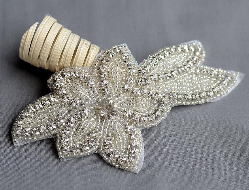 Rhinestone Applique Bridal Accessories Crystal Trim Rhinestone Etsy