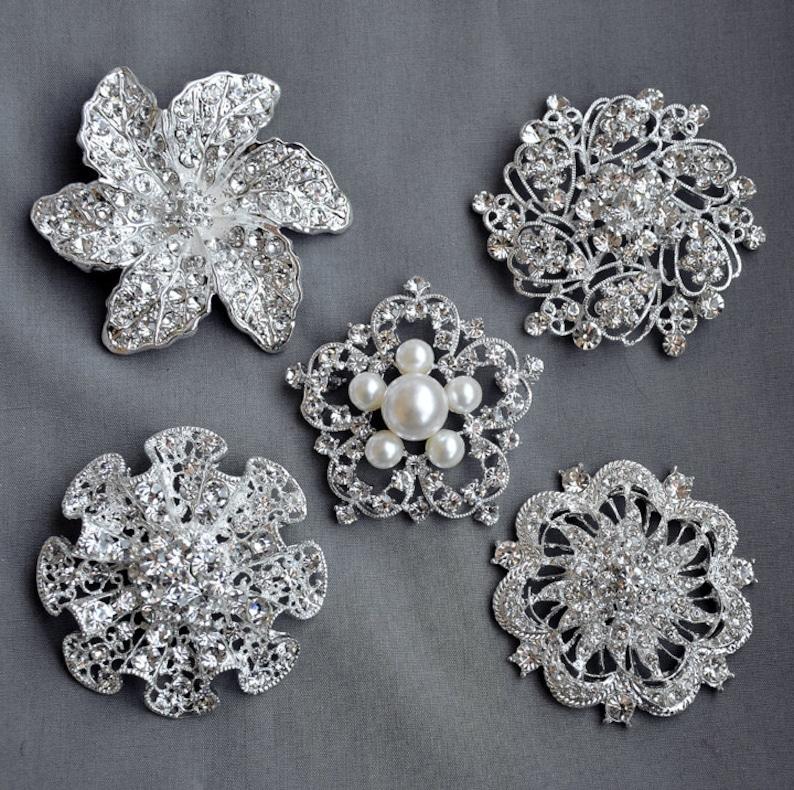 645819113 5 Rhinestone Brooch Embellishment X LARGE Pearl Crystal Hair | Etsy