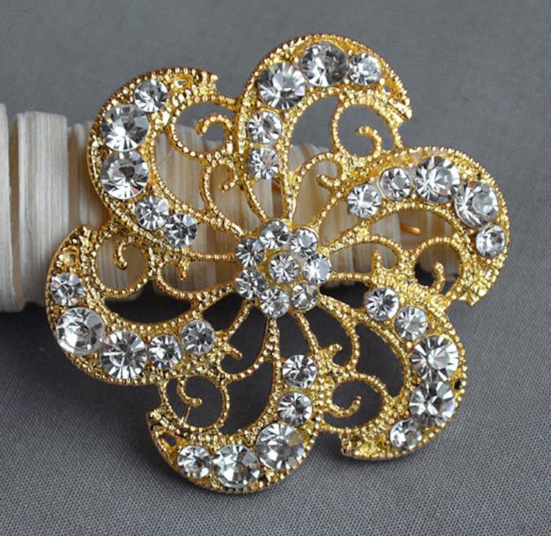 d34bb89f9 Rhinestone Brooch Embellishment Crystal Pearl Gold Wedding | Etsy