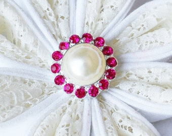 10 Rhinestone Buttons Round Pearl Rose Pink Crystal Hair Flower Comb Clip Wedding Invitation BT120