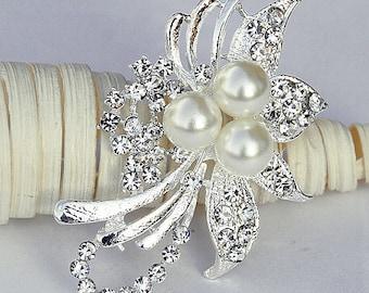 Rhinestone Brooch Pearl Crystal Brooch Bridal Brooch Bouquet Hair Comb Shoe Clip Wedding Cake Decoration DIY Supply BR060