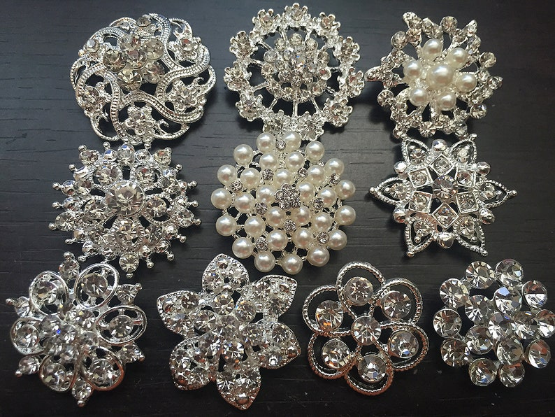 10 pcs Assorted Rhinestone Button Brooch Embellishment Pearl image 0