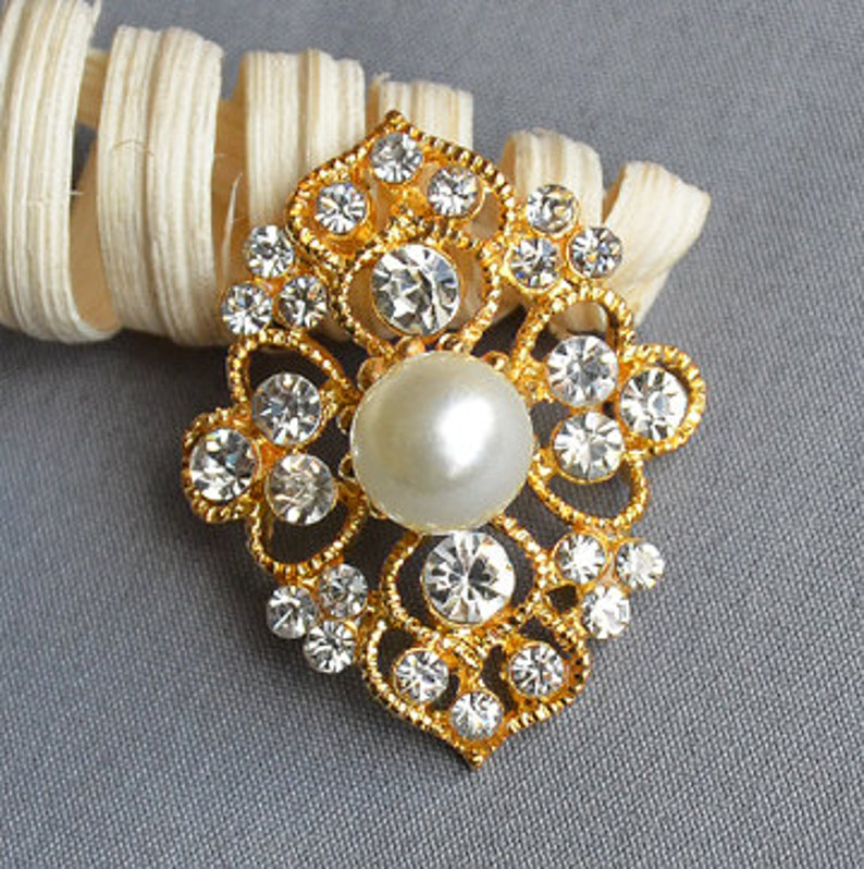 5 Rhinestone Button Brooch Gold Embellishment Pearl Crystal image 0