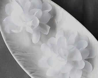 6 White Chiffon Flower Rose Soft Chiffon Fabric Silk Flowers Bridal Wedding Garter Baby Hair Comb Headband Shoe Clip Pin SF149