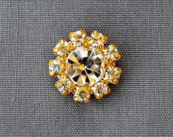 10 Rhinestone Button Brooch Embellishment Crystal Bridal Brooch Bouquet Wedding Invitation Cake Decoration Gold DIY BT598