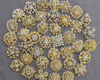 40 pcs Gold Rhinestone Brooch Crystal Brooch Wedding Invitation Cake Decoration Brooch Bouquet Kit Wholesale Lot BR664