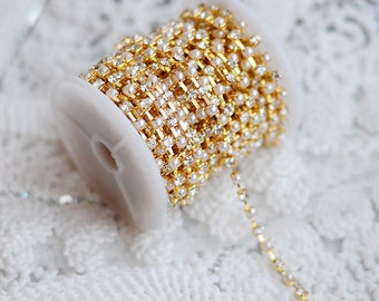 3 Feet Rhinestone and Pearl Chain Australia Crystal Gold SS12 3.2mm Wedding Cake Decoration Brooch Bouquet Jewelry Supply RC061