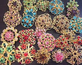 24 pcs vintage style wholesale lot crystal rhinestone mixed color brooch bridal wedding bouquet decoration DIY kit gold BR676