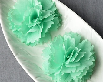 6 Mint Green Chiffon Flower Rose Soft Chiffon Fabric Silk Flowers Bridal Wedding Garter Baby Hair Comb Headband Shoe Clip SF175