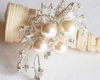 Rhinestone Brooch Pearl Crystal Brooch Bridal Brooch Bouquet Hair Comb Shoe Clip Wedding Cake Invitation DIY Supply BR006