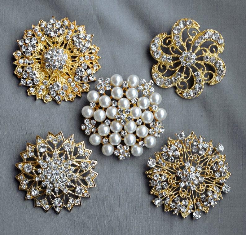80db47f00 5 Rhinestone Brooch Gold X LARGE Pearl Crystal Wedding Bridal image 0 ...