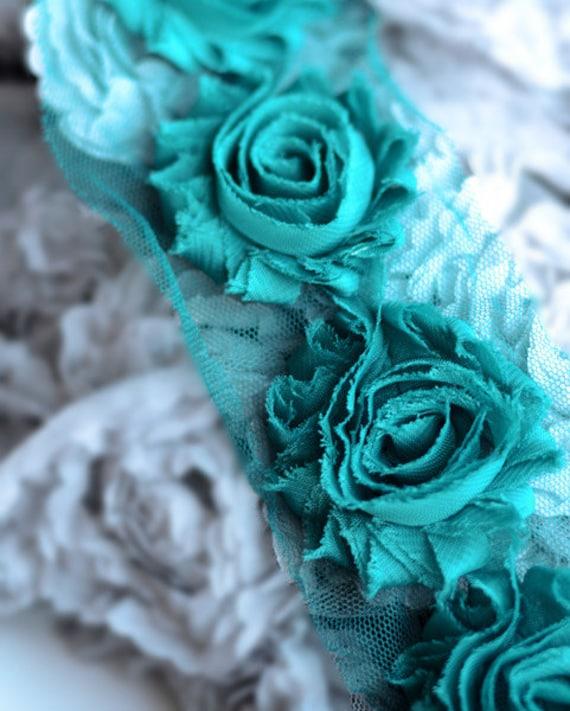 Shabby by yard Shabby Trim Green Peacock Shabby Flowers Shabby Flower Trim Chiffon flower Shabby Rose Trim Shabby wholesale