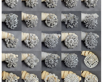 Wholesale Brooch 10-100 pcs Silver or Gold Rhinestone Brooch Crystal Brooch Pin Wedding Brooch Bouquet Wedding Invitation DIY Kit
