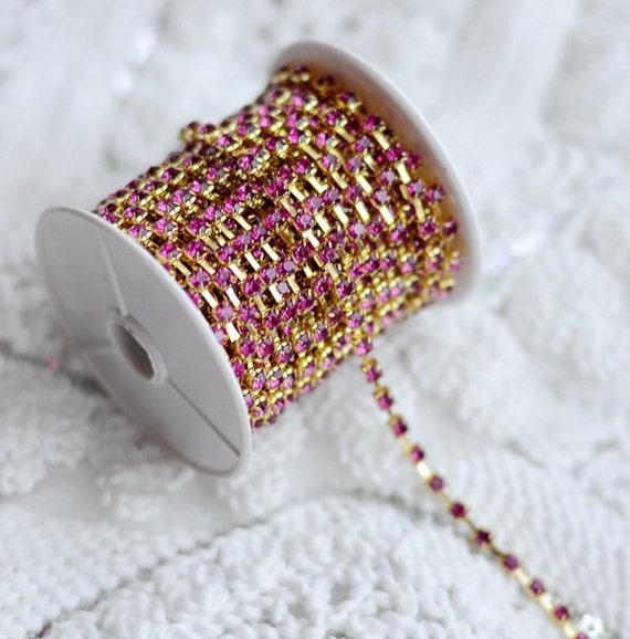 815983786d621 3 Ft Fuchsia Hot Pink Australia Rhinestone Chain Crystal Gold