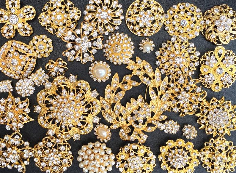 32 pcs Gold Brooch Bouquet DIY Kit wholesale assorted lot set image 0