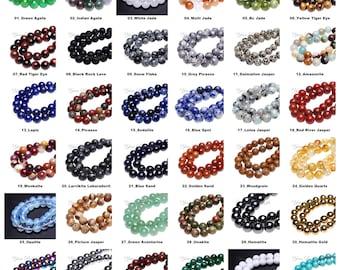 Wholesale Lot 8mm Natural Gemstone Round Beads 16 Inch Strand Crystal Quartz Fluorite Lapis Jasper Jade Rock Onxy Agate Turquoise Opalite
