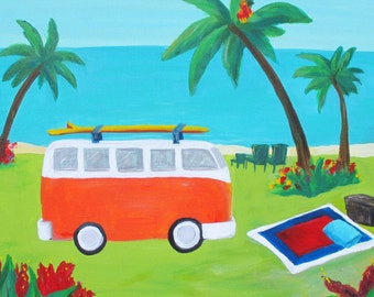 Kelly's Paradise- Colorful Island tropical Landscape Volkswagon Print-Many Sizes Available