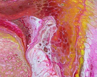 Radiance- 8x10 Original Abstract Floral Fluid Acrylic Painting