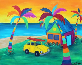 My Happy Place- Many Sizes Avilable- Original Tropical landscape palm tree Acrylic Painting PRINT