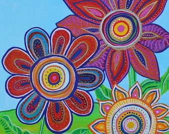 "Flower Power-12x16"" Whimsical Fun Flower Print-Many Sizes Available"