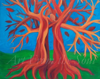 Intertwined- Many Sizes Available Marriage Love Romance People Tree Original Acrylic PAINTING PRINT