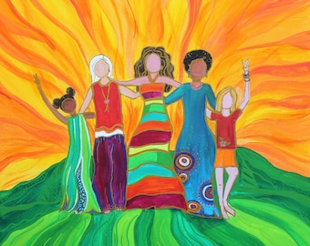We Are All in This Together (2)- 20x20 Original Acrylic Empowered Peace Womens Painting on Canvas