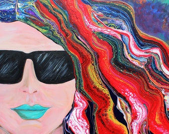 "Be Brave, Be Bold- 20x20"" Acrylic Whimsical Brave Woman Painting on Wood Panel with Gallery Edges"