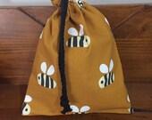 Extra Small Mustard Bee Bag, Cotton Snack Bag, Makeup Storage Bag, Drawstring Gift Bag, Food Bag, Baby Gift, Reusable Zero Waste Bag, Aust