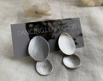 Silver Petal Earrings // Hydrangea / Naturally Imperfect Nature Jewelry / Petals and Drops / Dangling Earrings / Natural Treasures