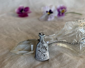 Flower Vase Necklace // Hand Engraved Botanical Pendant / Recycled Silver / Handcrafted in Vancouver, BC., Canada