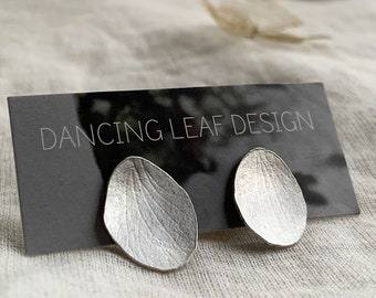 Silver Petal Earrings // Hydrangea Earrings // Hydrangea Sepal Earrings / Recycled Silver Stud Earrings / Dancing Leaf Jewellery