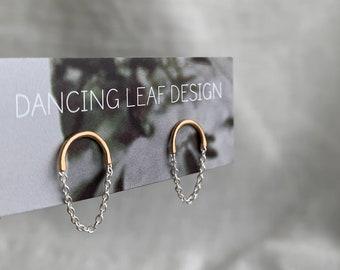 Rainbow Stud Earrings // Two Tone Earrings / Gold filled earrings / One-of-a-kind-mom's gift / Rainbow Earrings / Minimal Jewelry / Rainbow