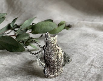 Forest Cat Necklace // Cat Person's Jewellery / Cat Pendant Necklace for Human / Hand Engraved Trees and Stars / Made in Vancouver, Canada