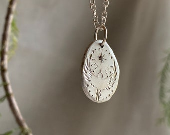 Coin Pendant // Flying Bird & The Star / recycled silver