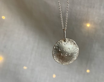 Personalized Full Moon Necklace // sterling silver moon necklace