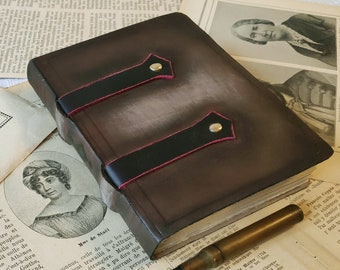 OOAK leather journal, brown leather journal, pocket leather diary, pocket travel journal, blank book, vintage style pages