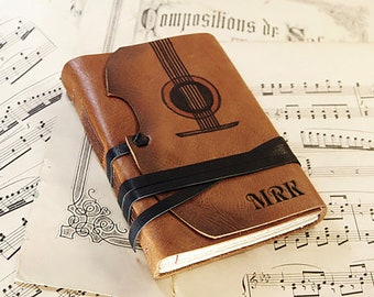 Music - leather journal with vintage style paper in orange brown, customizable with monogram and text